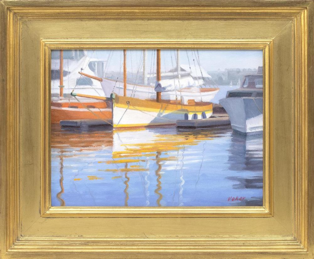 "SAM VOKEY, Massachusetts, born 1963, ""Wooden Boats""., Oil on canvas, 9"" x 12"". Framed 14"" x 17""."