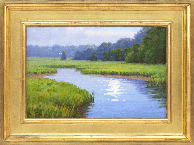 "SAM VOKEY, Massachusetts, b. 1963, Reflection on a marsh., Oil on canvas, 9.5"" x 15"". Framed 15"" x 20""."