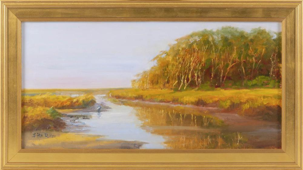 "JO ANN RITTER, Massachusetts, Contemporary, ""The Pamet""., Oil on canvas, 12"" x 24"". Framed 15.5"" x 28""."