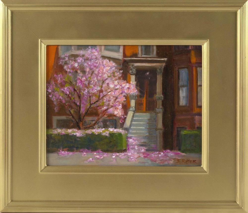 "JO ANN RITTER, Massachusetts, Contemporary, Beacon Hill Spring., Oil on board, 11"" x 14"". Framed 19"" x 22""."