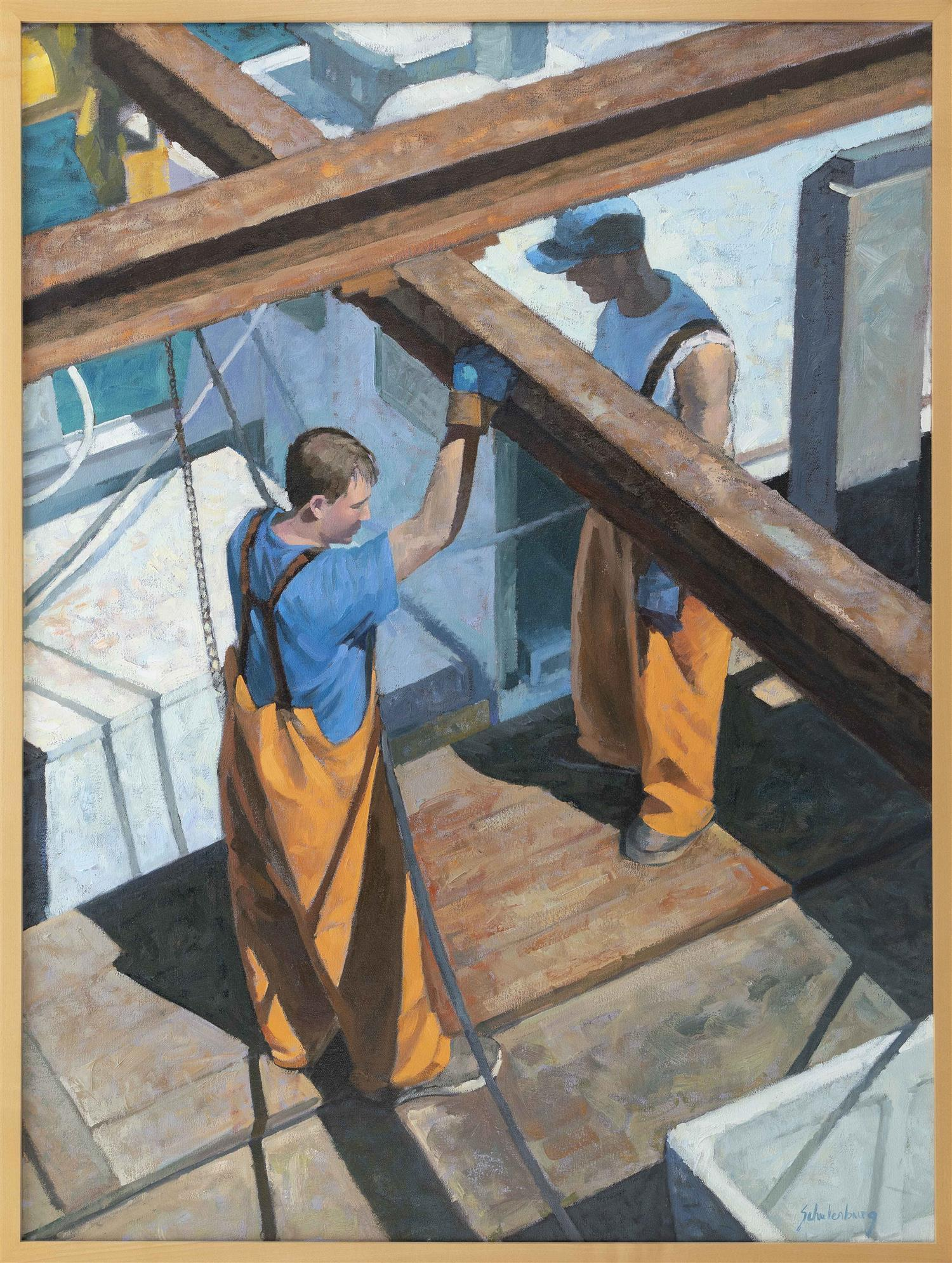 "PAUL SCHULENBURG, Massachusetts, Contemporary, ""Working the Pier""., Oil on canvas, 40"" x 30"". Framed 46"" x 36""."
