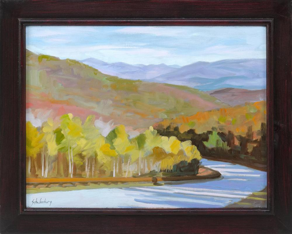 "PAUL SCHULENBURG, Massachusetts, Contemporary, ""Mountain Road""., Oil on board, 12"" x 16"". Framed 16"" x 19""."