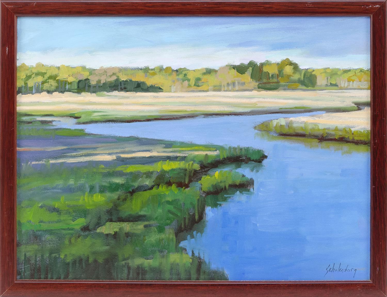 "PAUL SCHULENBURG, Massachusetts, Contemporary, ""River Through Marsh Grass""., Oil on board, 12"" x 16"". Framed 13.5"" x 17.5""."