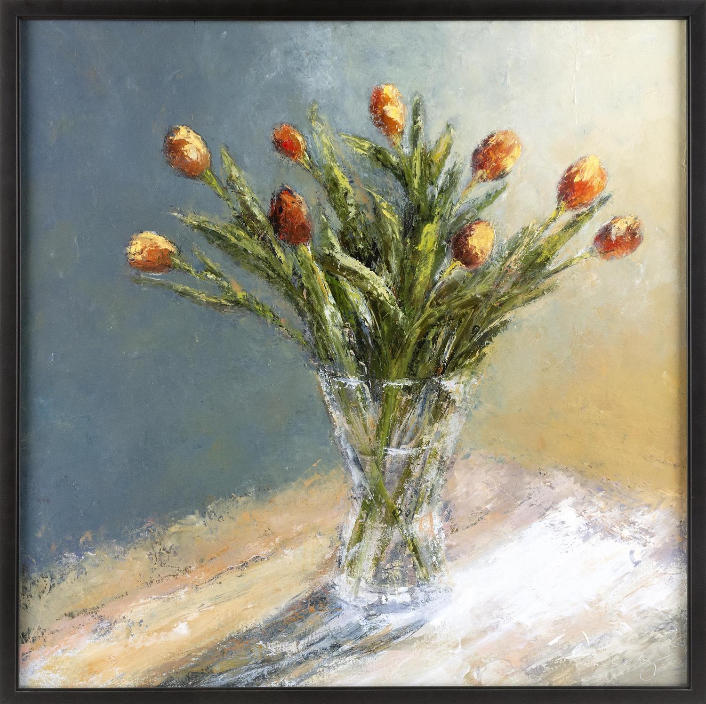 """PAMELA PHARR SCHULENBURG, Massachusetts, b. 1962, Still life of tulips., Oil on canvas, 30"""" x 30"""". Framed 31.5"""" x 31.5""""."""
