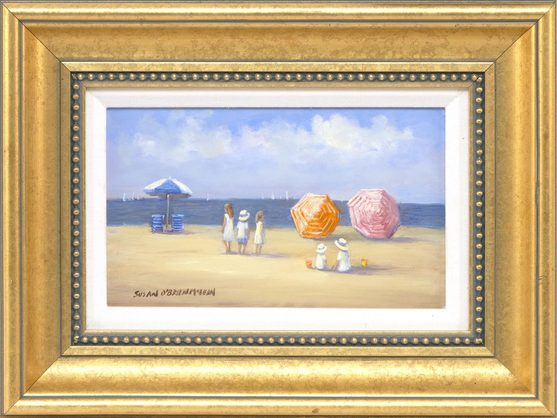 "SUSAN O'BRIEN MCLEAN, Massachusetts, Contemporary, ""Beach Umbrellas""., Oil on board, 6"" x 10"". Framed 12"" x 16""."