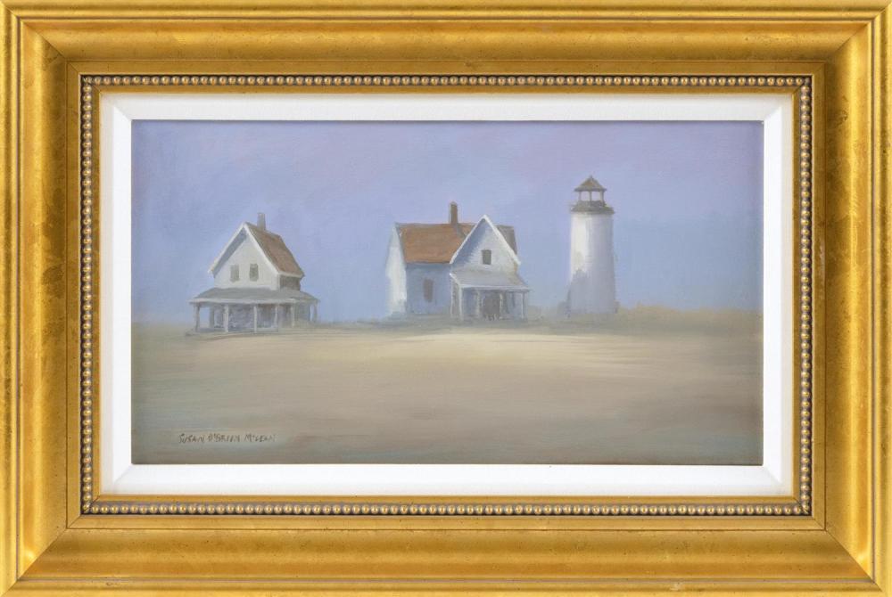 "SUSAN O'BRIEN MCLEAN, Massachusetts, Contemporary, ""'A Fragile Place' (Sandy Neck)""., Oil on canvas, 9"" x 16"". Framed 15"" x 22""."