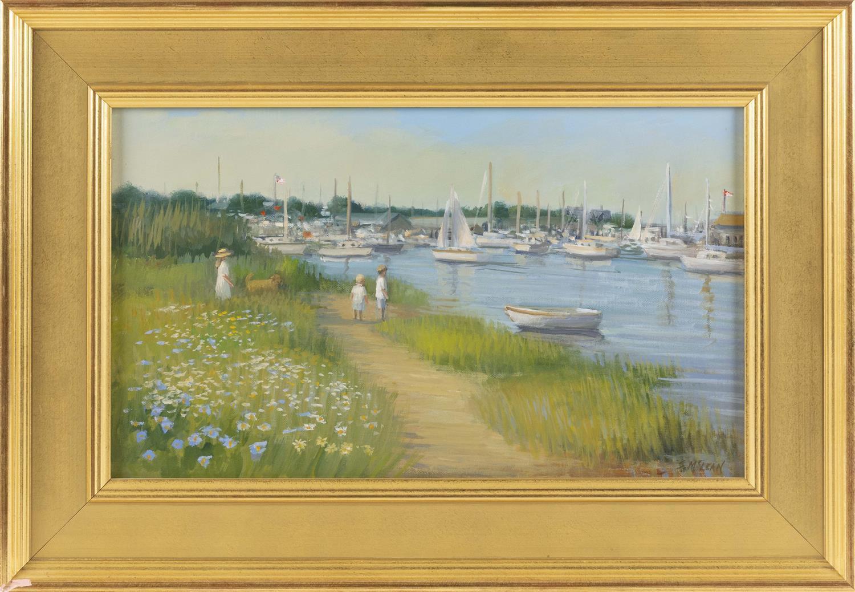 "SUSAN O'BRIEN MCCLEAN, Massachusetts, Contemporary, ""Crosbys Morning""., Oil on canvas, 12"" x 20"". Framed 18"" x 26""."