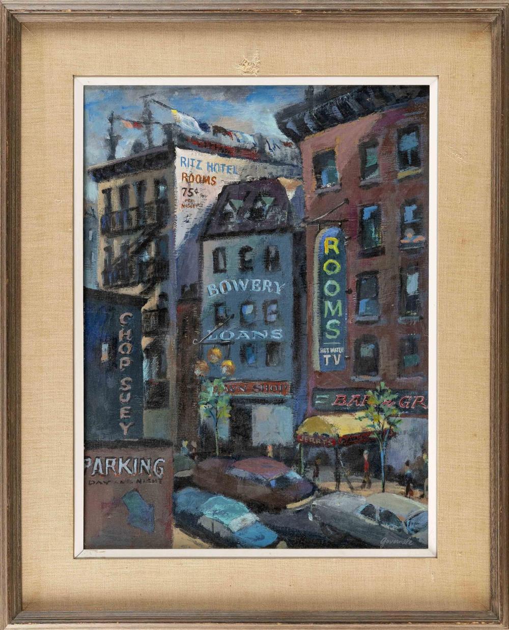 "SANTINO ""SANDI"" GOVERNALE, New York, 1916-2005, ""The Bowery - New York Cityscape""., Oil on board, 24"" x 18"". Framed 32"" x 26""."