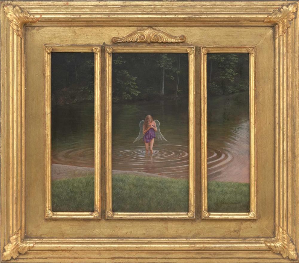"MARK MEUNIER, Massachusetts, 1949-2017, Triptych ""Undine"", 1993., Tempera on board, central panel 12"" x 6"", side panels 12"" x 3.5""...."