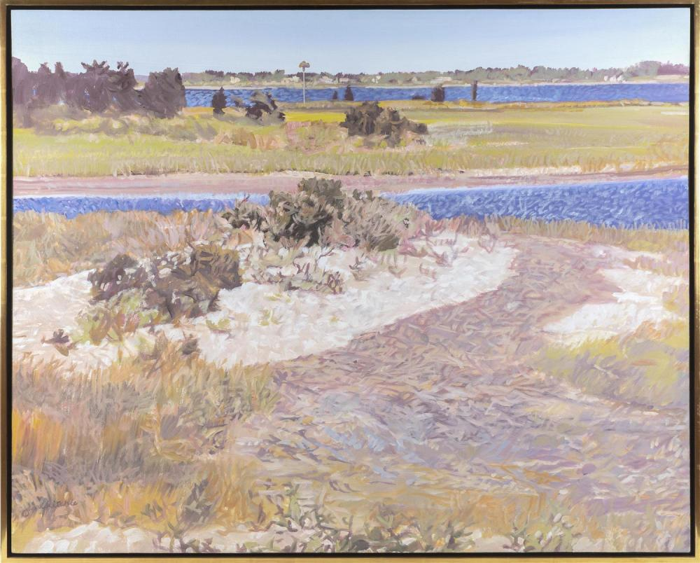 """JANE HARRER RITCHIE, Massachusetts, 1927-2000, Osprey nest on the marsh., Oil on canvas, 40"""" x 50"""". Framed 41.5"""" x 52""""."""