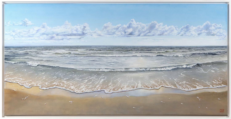 "YASEMIN KYRENA TOMAKAN, Connecticut/Massachusetts/Turkey, b. 1958, Clear shores., Oil on canvas, 23.5"" x 47.5"". Framed 26"" x 50""."