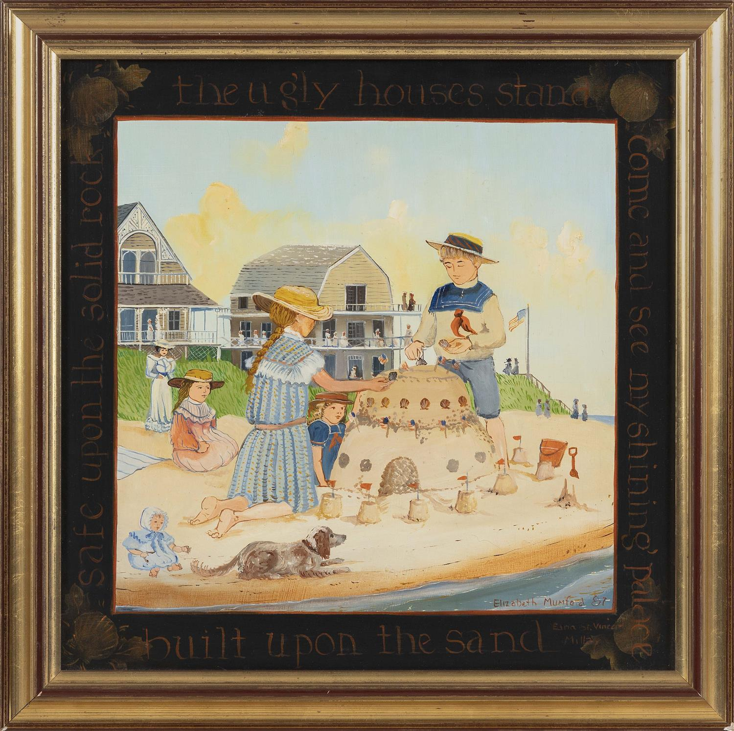 """ELIZABETH MUMFORD, Massachusetts, Contemporary, """"Come and See my Shining Palace, Built upon the Sand ...""""., Oil on board, 15"""" x 15""""...."""
