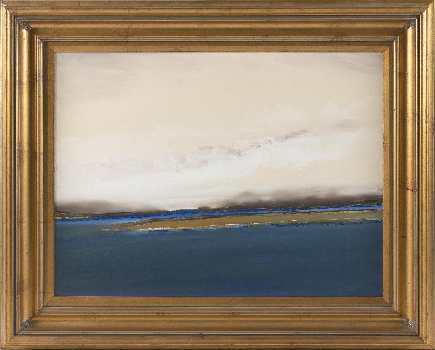 """JOE CLEMENT, America, Contemporary, Approaching storm, Provincetown, Massachusetts., Oil on canvas, 18"""" x 24"""". Framed 25"""" x 41""""."""
