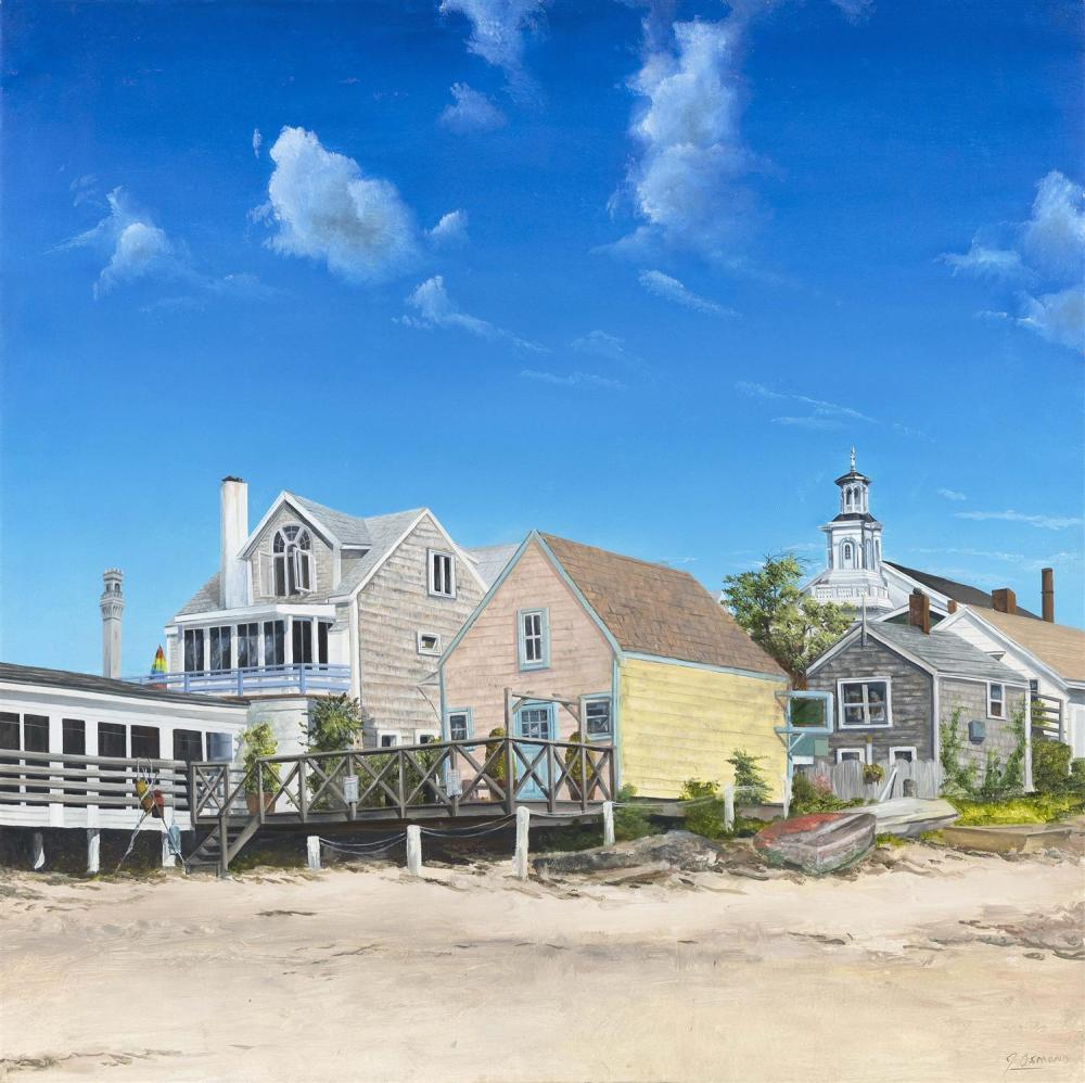 "JEFF OSMOND, Massachusetts, Contemporary, ""Hammock Shop""., Oil on board, 24"" x 24"". Box stretcher."