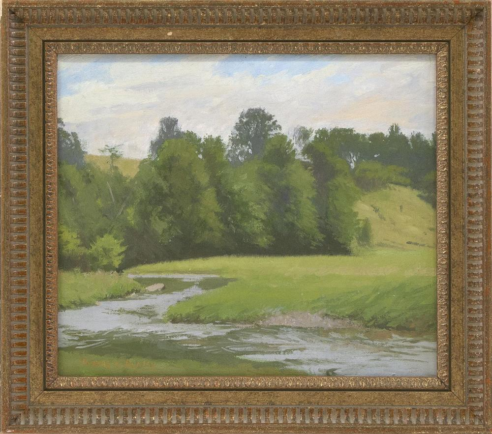 "THOMAS R. DUNLAY, Massachusetts, b. 1951, Landscape with stream., Oil on canvas, 12"" x 14"". Framed 16"" x 17.5""."