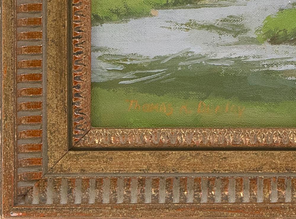 THOMAS R. DUNLAY, Massachusetts, b. 1951, Landscape with stream., Oil on canvas, 12