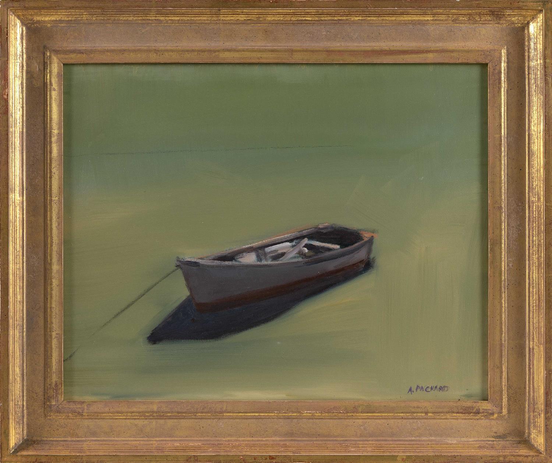 "ANNE PACKARD, Massachusetts/New Jersey, b. 1933, Moored skiff., Oil on canvas, 16"" x 20"". Framed 20"" x 26""."