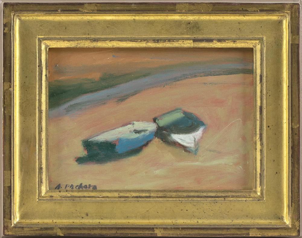"ANNE PACKARD, Massachusetts/New Jersey, b. 1933, Two beached dories., Oil on board, 5"" x 7"". Framed 7.5"" x 9.5""."