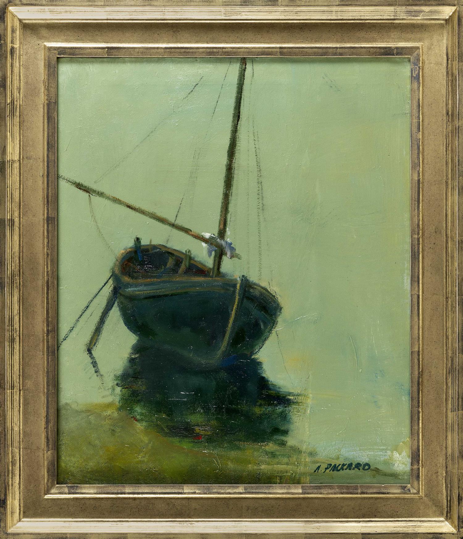"ANNE PACKARD, Massachusetts/New Jersey, b. 1933, Sailboat., Oil on canvas, 24"" x 20"". Framed 30"" x 25""."