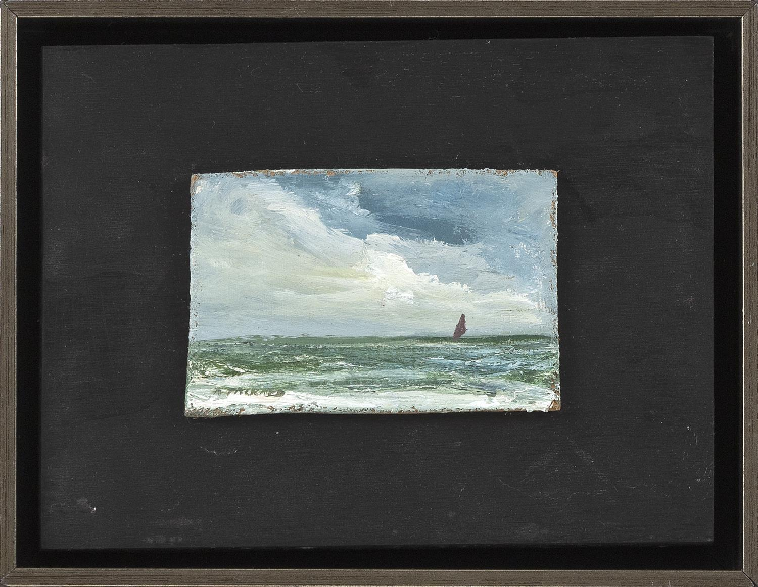 "ANNE PACKARD, Massachusetts/New Jersey, b. 1933, Brisk sail., Oil on board, 3"" x 4.25"". Framed 7"" x 9""."