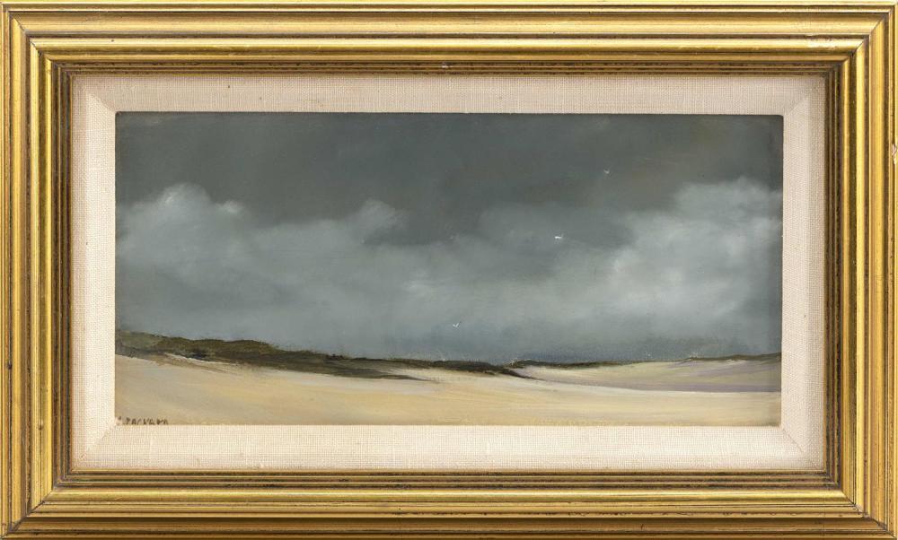 """ANNE PACKARD, Massachusetts/New Jersey, b. 1933, Dune scene., Oil on board, 5"""" x 10"""". Framed 8"""" x 13""""."""
