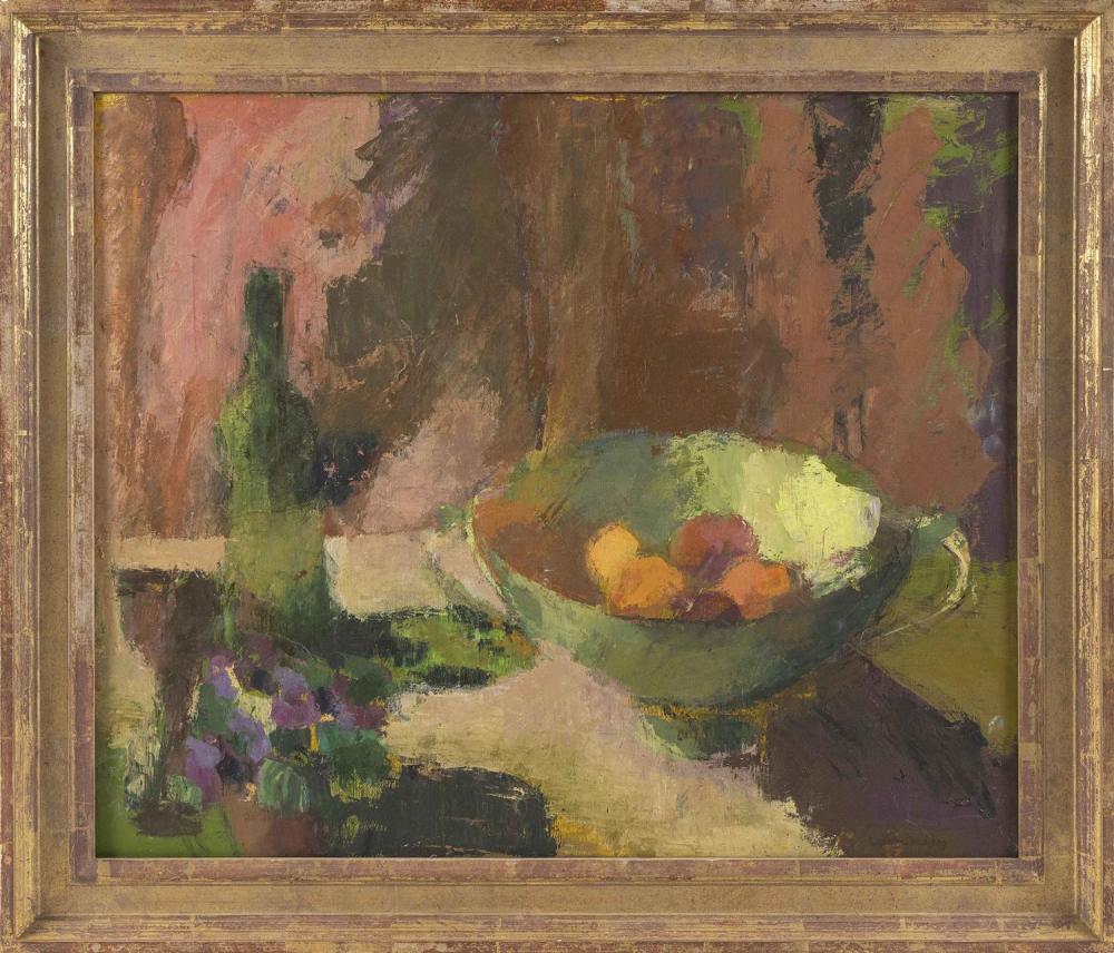 "CYNTHIA PACKARD, Massachusetts/Florida, b. 1957, Still life of fruit., Oil on canvas, 25"" x 30"". Framed 30.5"" x 35""."