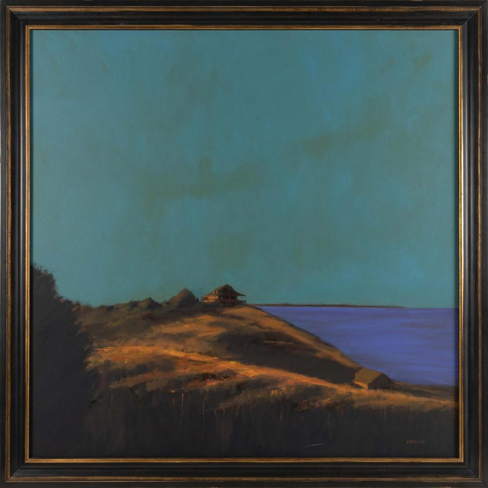 "ROBERT CARDINAL, Massachusetts/New York/Canada, b. 1936, ""Cold Storage Beach""., Oil on canvas, 40"" x 40"". Framed 45"" x 45""."