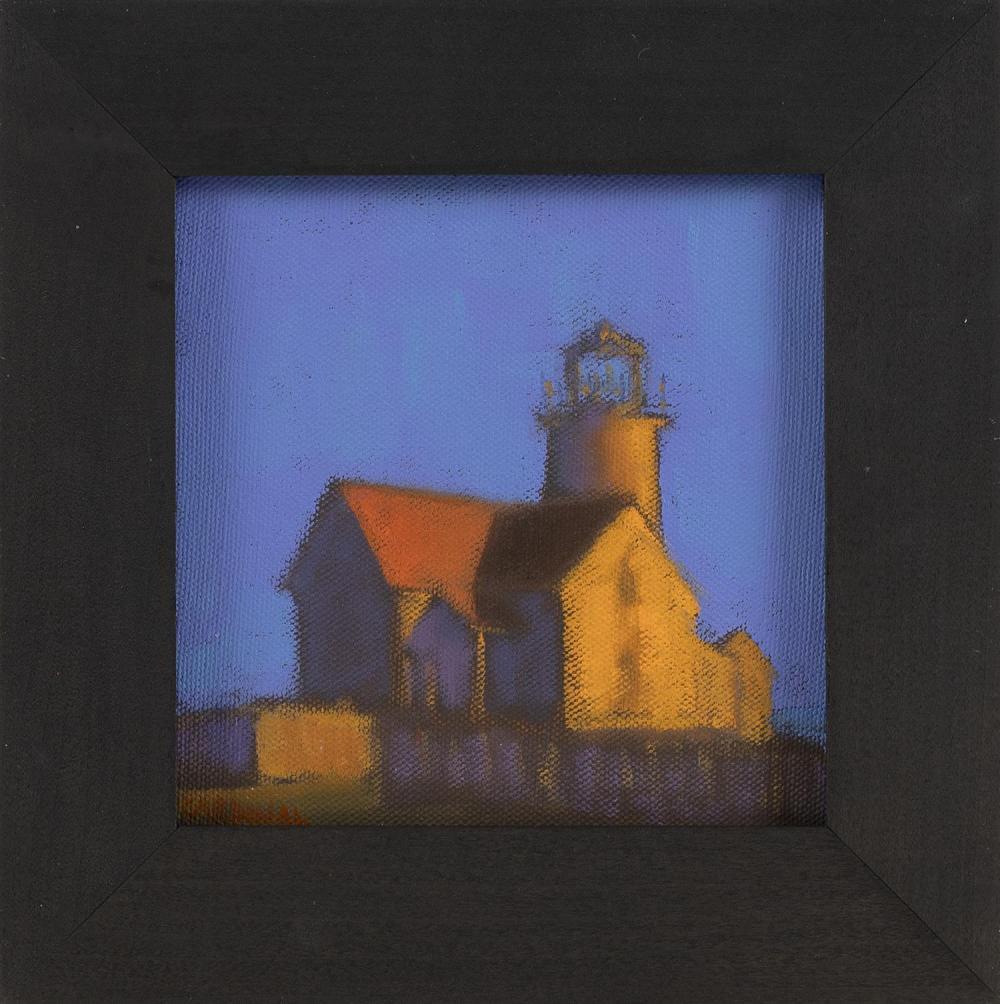 """ROBERT CARDINAL, Massachusetts/New York/Canada, b. 1936, """"West Chop Light""""., Oil on canvas, 6"""" x 6"""". Framed 8.5"""" x 8.5""""."""