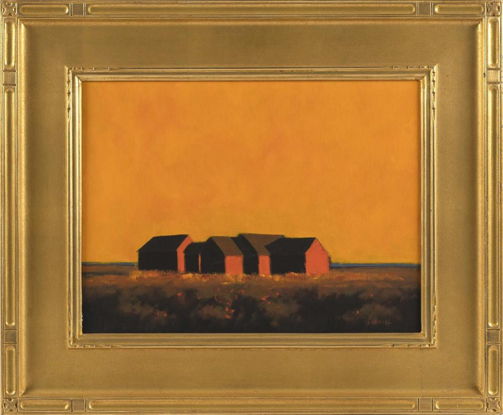 "ROBERT CARDINAL, Massachusetts/New York/Canada, b. 1936, Vermont barns., Oil on canvas, 12"" x 16"". Framed 20"" x 23""."