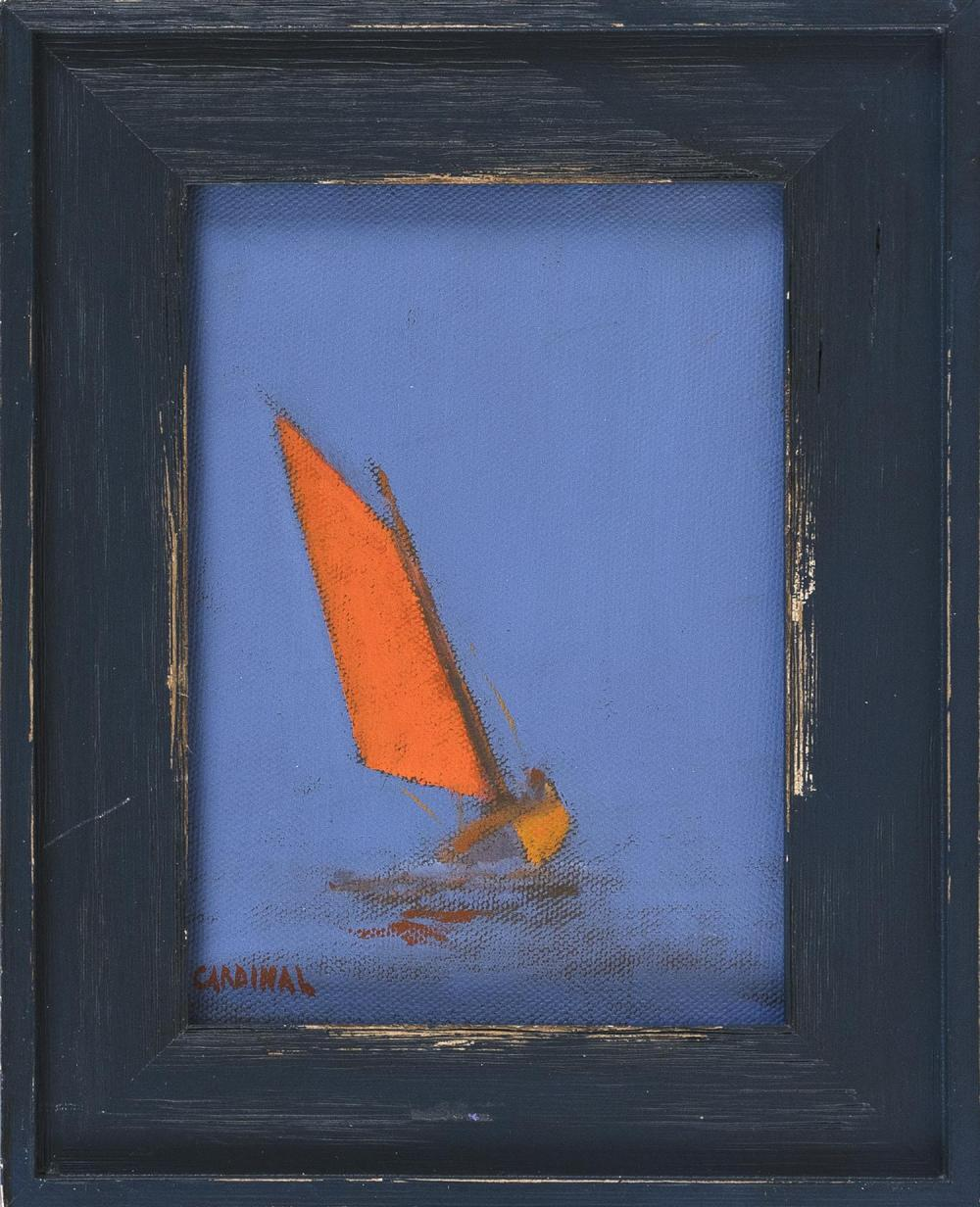 "ROBERT CARDINAL, Massachusetts/New York/Canada, b. 1936, ""Red Sail""., Oil on canvas, 7"" x 5"". Framed 9.5"" x 7.5""."