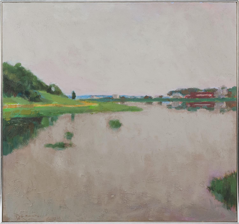 "LARRY HOROWITZ, New Jersey/New York/Massachusetts, b. 1956, ""High Tide, Wellfleet""., Oil on canvas, 28"" x 30"". Framed 29"" x 31""."
