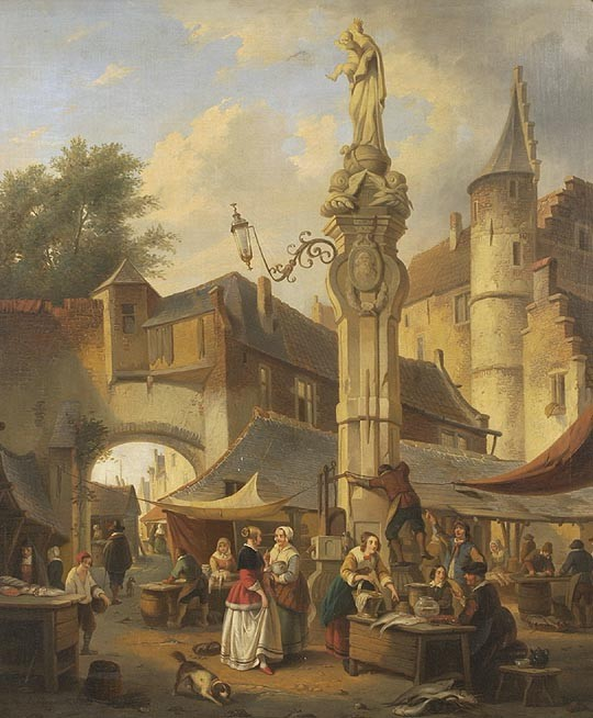 HENRI JOSEPH GOMMARUS CARPENTERO Belgian, 1820-1874    European market scene with numerous figures about a city square. Signed lower left