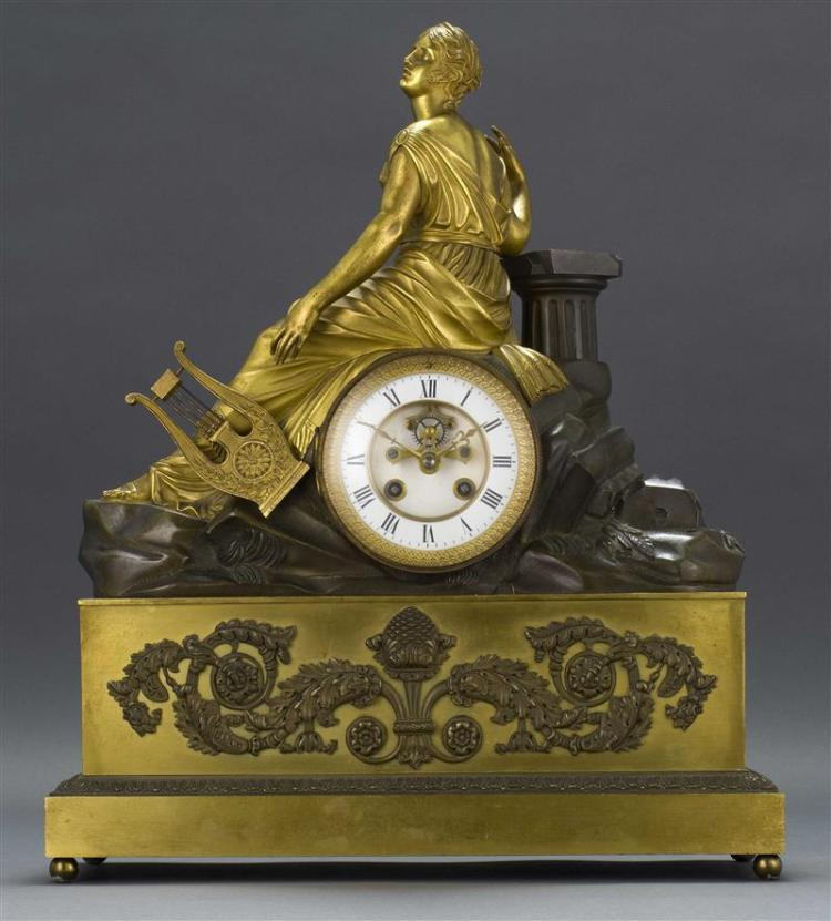 FRENCH NEOCLASSICAL PARCEL-GILT BRONZE MANTEL CLOCK Dial with enameled Roman numerals and visible jeweled Brocot escapement. Case ca...