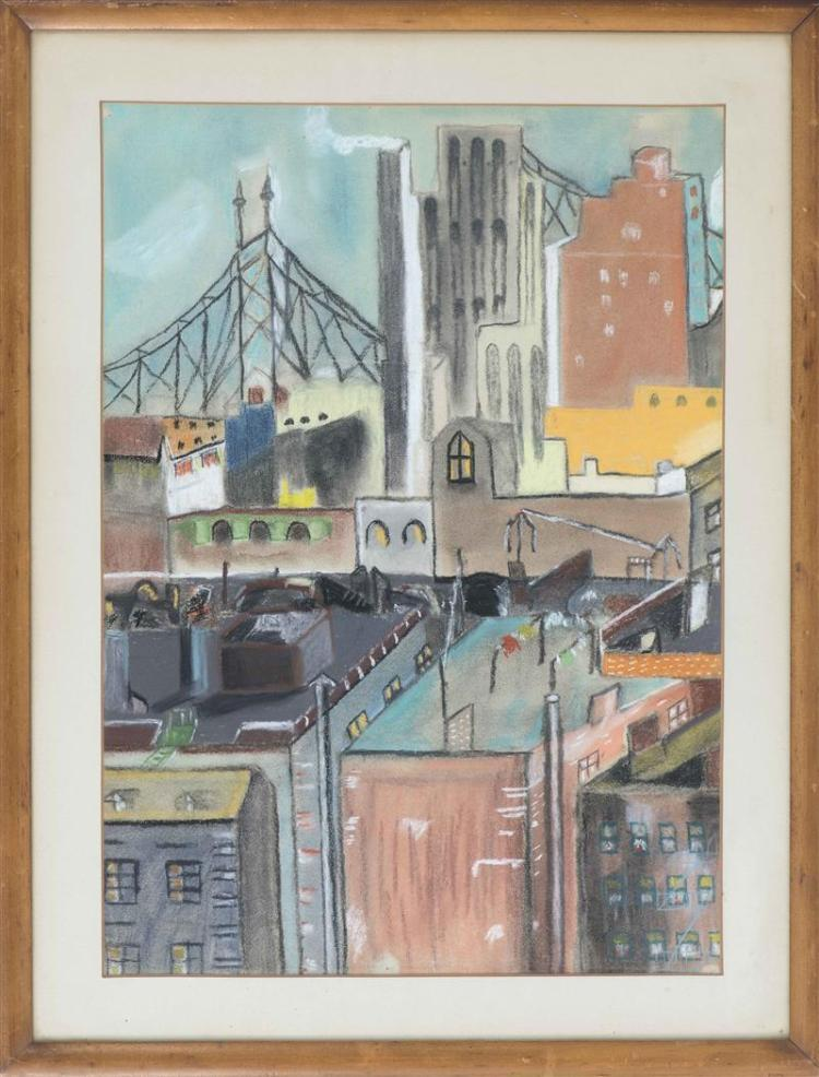 AMERICAN SCHOOL, Mid-20th Century, Manhattan rooftops and the Queensboro Bridge., Pastel on paper, sheet 25