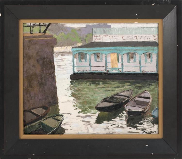 EDMUND QUINCY, Massachusetts, 1903-1997, Boats by a harbor café., Oil on board, 15