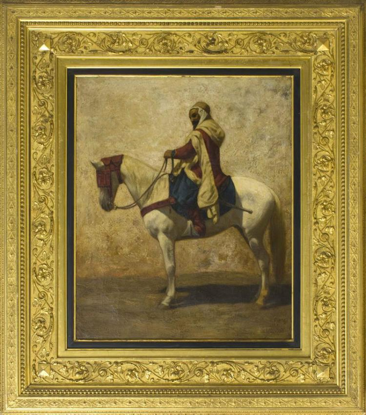 MARCUS A. WATERMAN, Massachusetts/Rhode Island, 1834-1914, An Arab on horseback., Oil on canvas, 24