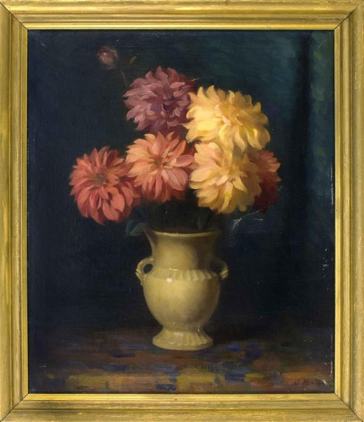 AMERICAN SCHOOL, First Half of the 20th Century, Flowers in a white porcelain vase., Oil on canvas, 30