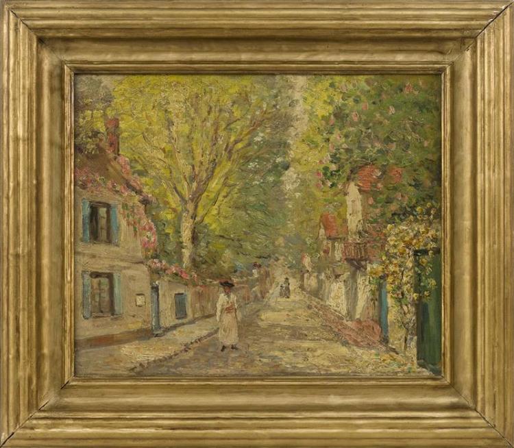 SARKIS SARKISIAN, Michigan/Turkey, 1909-1977, Village street scene., Oil on canvas, 13