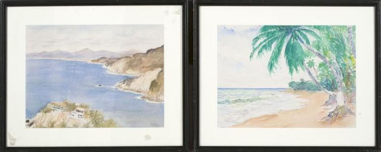 HENRY JARVIS PECK, American, 1880-1964, Two Caribbean views:, Watercolors on paper, 11