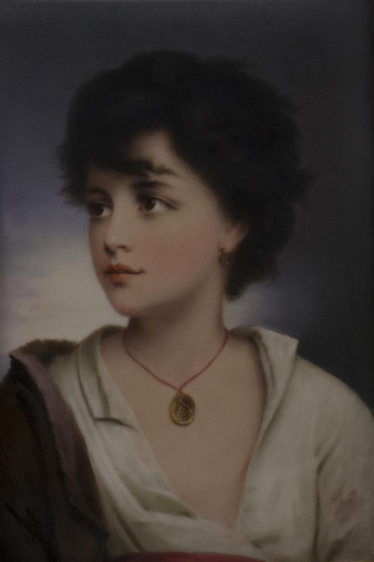 HAND-PAINTED PORCELAIN PLAQUE Depicting a young girl with a necklace. 8.5
