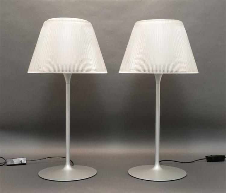 PAIR OF PHILIPPE STARCK ROMEO MOON T1 TABLE LAMPS Manufactured by Flos Inc. Both with frosted glass diffuser and collar. Clear press...