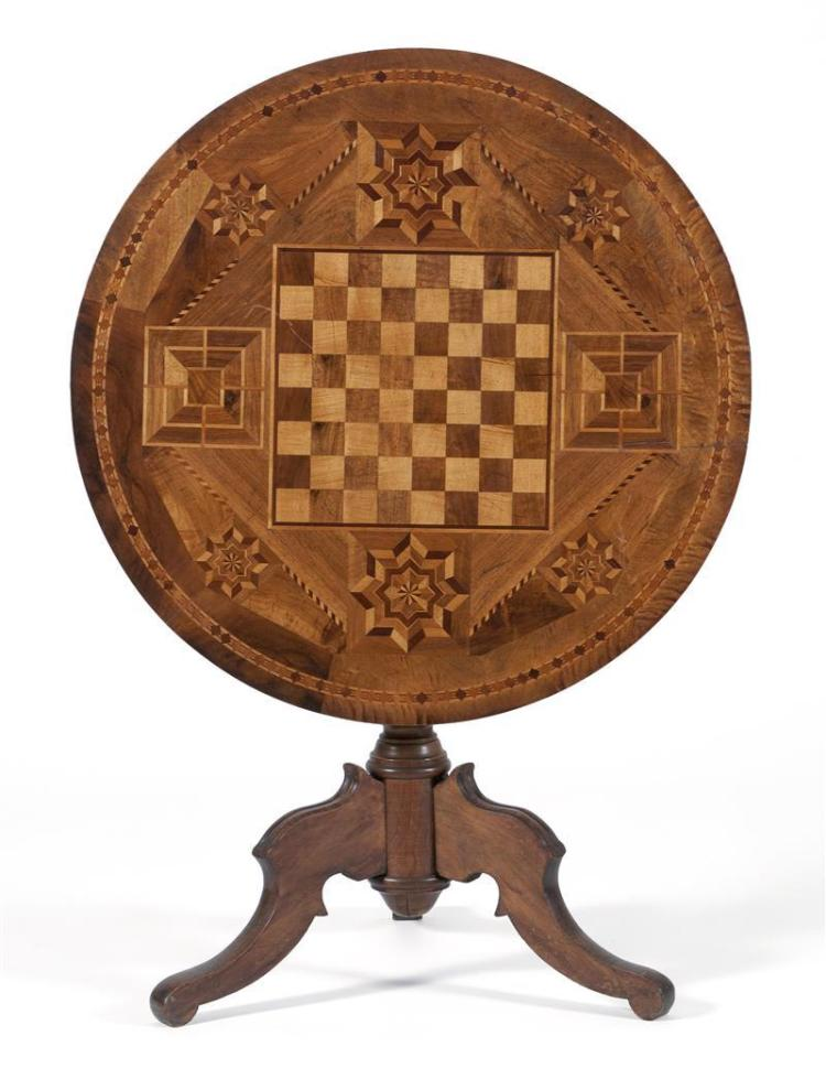 TILT-TOP GAME TABLE With fruitwood, maple and tiger maple inlay. Top inlaid with a checkerboard surrounded by geometric designs. Tur...