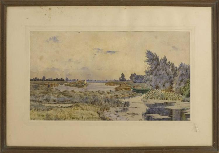 ENGLISH SCHOOL, Late 19th/Early 20th Century, A figure in a marsh landscape., Watercolor, 11