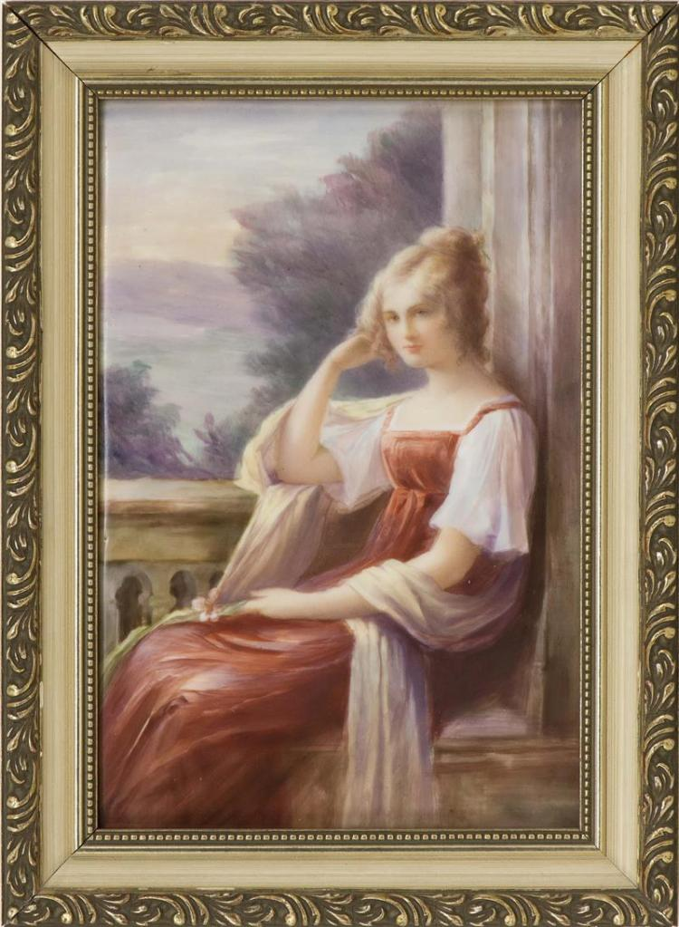 LIMOGES PORCELAIN PLAQUE A beautiful young woman in a red dress seated on a balcony. Reverse marked with Limoges stamp and impressed...