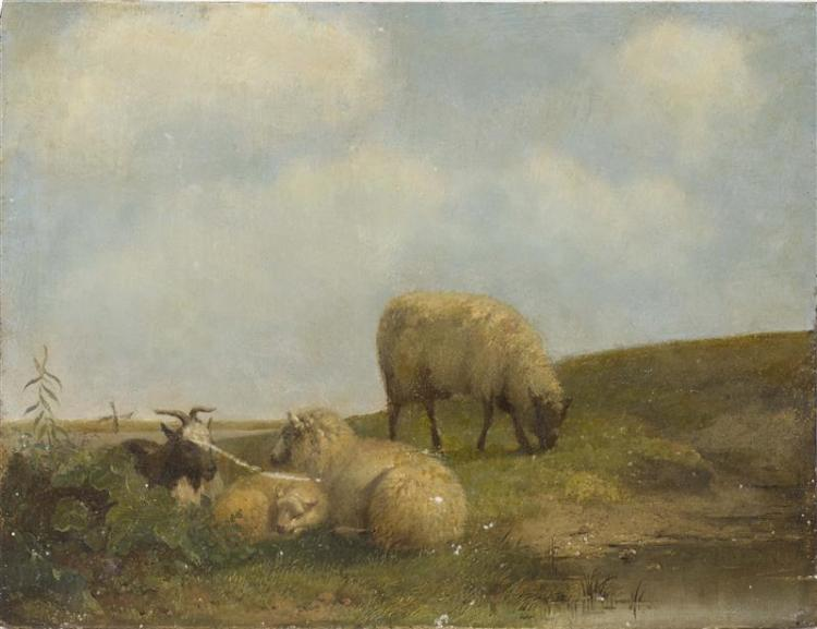 CONTINENTAL SCHOOL, 19th Century, Sheep in a landscape., Oil on panel, 10.5
