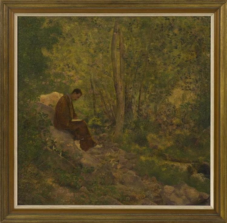 CONTINENTAL SCHOOL, 20th Century, Meditation in the forest., Oil on board, 18.75