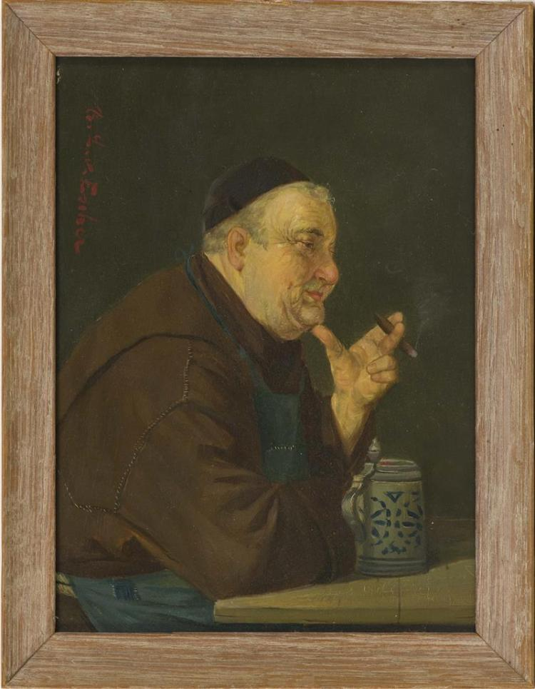 CONTINENTAL SCHOOL, 19th Century, A monk with a cigar., Oil on panel, 8.25