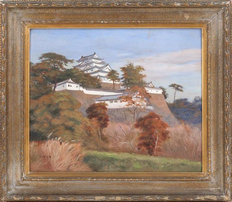 HAYASHI NOBUO, Japanese, Mid-20th Century, Temples on a hilltop., Oil on board, 17.5