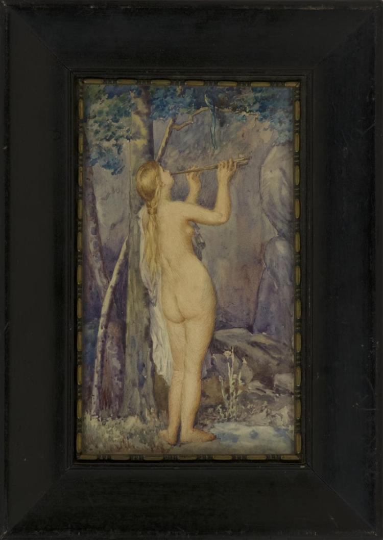 MANNER OF SADIE IRVINE, 19th Century, A nude in the forest., Watercolor on paper, 7.25