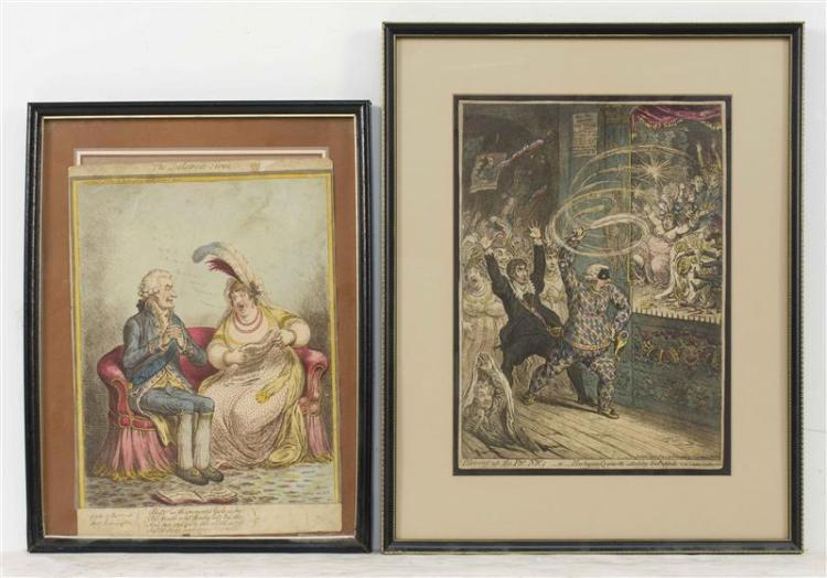 JAMES GILLRAY, English, 1757-1815, Two colored satirical engravings.